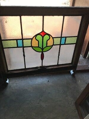 Sg 2470 Antique Stainglass Window 27 X 21 High25 To The Leg