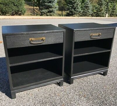 pair 1950s black ebonized nightstands by Landstrom Furniture Rockford Illinois