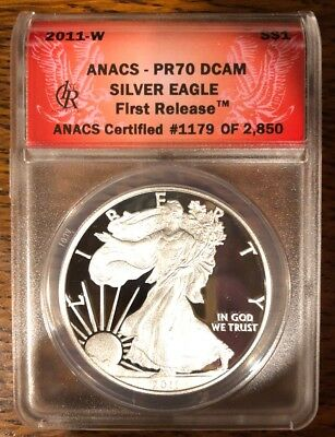2011-W American Silver Eagle Proof - ANACS PR70 DCAM - First Release