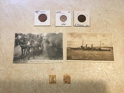 2 UNC 1914 POSTCARD Soldiers British & Indian Coin India 1892D 1938 Anna & STAMP