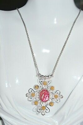 Tagliamonte 925 Ssygp*Necklace*Slider*Venetian Cameo Rose Pink*Fabulous Sale