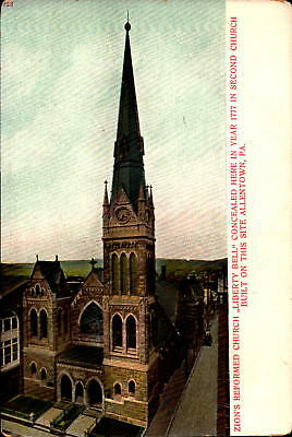 Postcard Zion's Reformed Church Liberty Bell Allentown PA unused