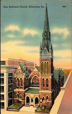 Postcard Zion Reformed Church Allentown Pennsylvania Linen Unused