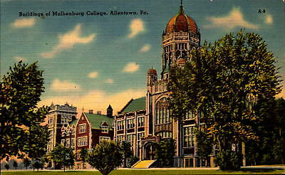 Postcard Buildings of Mulhenburg College Allentown PA Linen Unused