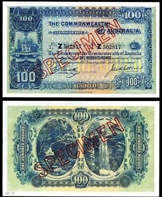 Australian REPLICA Paper Note 2pc Collectable Only 100 Pounds Gift Or Frame