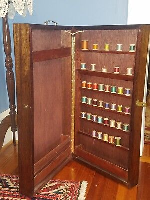 VINTAGE Wood Spool Hinged Cabinet Sewing with wooden bobbin thread dressmaker's