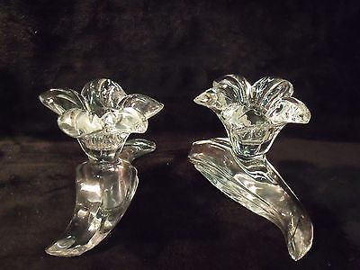 Pretty Pair Art Nouveau Wave and Lily Blossom Crystal Candle Holders