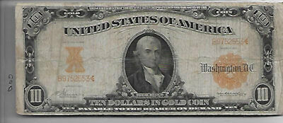 1907 Large Gold Certificate $10.00 In Gold Note