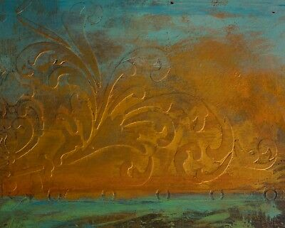 Modern Original Painting Fine Art Turquoise Gold Leaf Abstract Anya Landscape