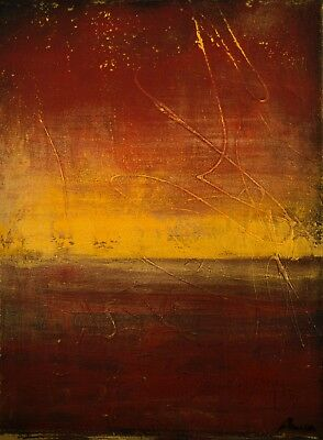 Modern Original Abstract Painting Chinese Silk Red Gold Leaf Gallery Art Anya