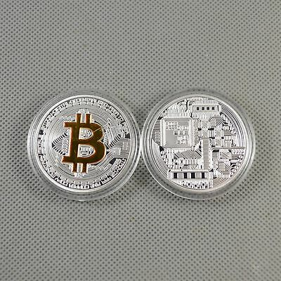 2PCS Silver Gold Plated Commemorative Bitcoin Collectible Golden Iron Miner Coin