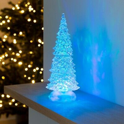 Colour Changing LED Glitter Water Christmas Tree Decoration Battery Powered 26cm