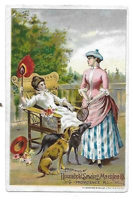 Victorian Trade Card Household Sewing Machine Co.-Dogs Tennis Racket