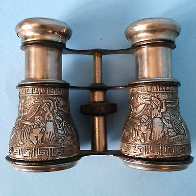 Occupied Japan Egyptian Motif Binoculars / Opera Glasses Silver Alloy c1940s