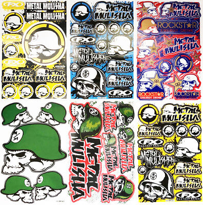 6 sheets Metal Mulisha Stickers Motorcycle ATV Racing Dirt Bike Helmet Decal