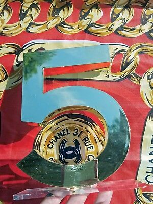 """CHANEL store display FACTICE logo store gold tone""""5"""" very rare"""