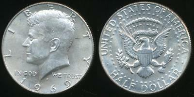 United States, 1969-D Half Dollar, Kennedy (Silver) - Uncirculated