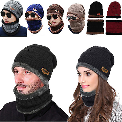 Unisex Beanie Winter Warm Cap Scarf Wool Knitted Hat & Neckerchief For Men Women