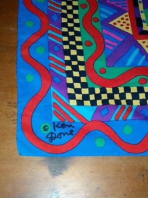 Vintage Retro Australian Ken Done Signed Scarf Original Collectable