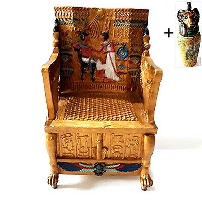 Rare Miniature Resin Armchair Furniture Antique Egyptian Pharaoh King Home Decor