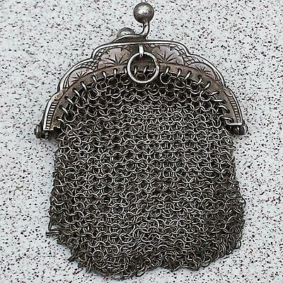 Rare Antique Solid Silver Miniature Purse