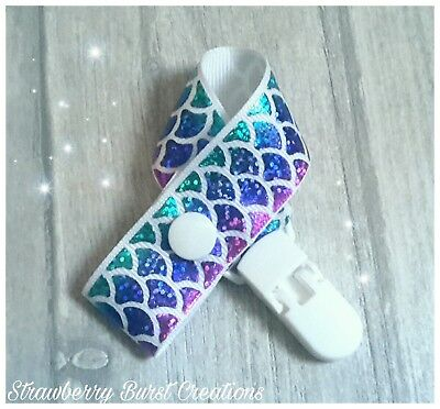 Handmade Baby Dummy Clip/Saver Mermaid Sparkle Scales *MAM adapters available*