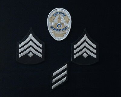 LAPD Los Angeles Police Detective badge patch & rank, service stripes patches