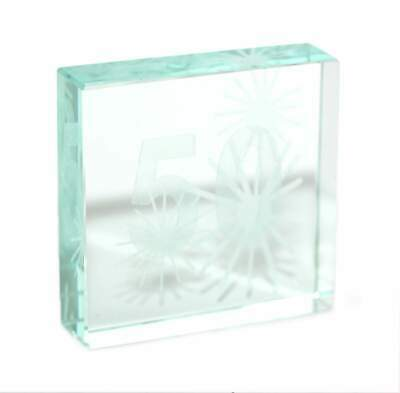 Garden Star-Crystal Glass Block Ornamental 50 50th Birthday Gift Paperweight