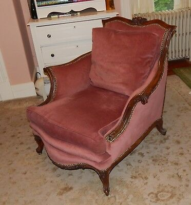 Antique Vintage French Louis XV Bergere Style Carved Wood Upholstered Armchair
