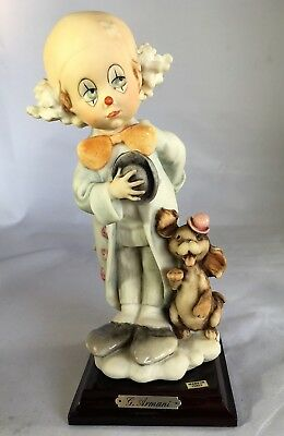 "Giuseppe G. Armani Clown-Child With Puppy Figurine 653P Florence 8"" x 3 1/4"""