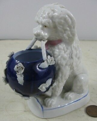 "Antique 19th Century 4 1/2"" Porclian Poodle Dog With Basket Figurine Meissen"