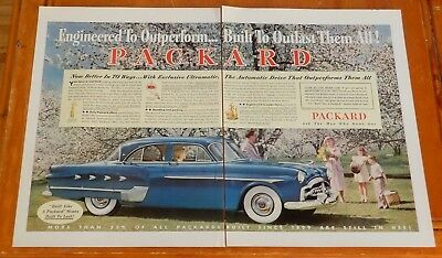 1952 Packard Patrician In Blue & Automatic Large Ad - Vintage American 50S Retro