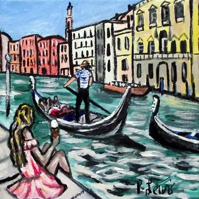 Original Northern Art Oil Painting Phil Lewis : Ice Cream in Venice
