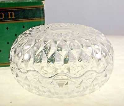 Avon Trinket Box French Crystal Round Lidded Box Bowl Gift to Reps Vintage 1986