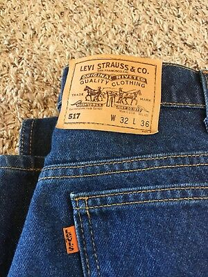 Vintage Levis 517 Jeans Made In USA 32 X 36 Orange Tab 20517-0217 Blue Jean