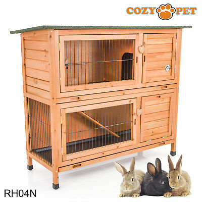 Rabbit Hutch by Cozy Pet 4 ft with 2 Levels Guinea Pig Hutches Run Ferret Runs
