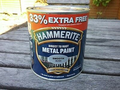 Hammerite smooth silver paint 9.1.LTR.Tins.