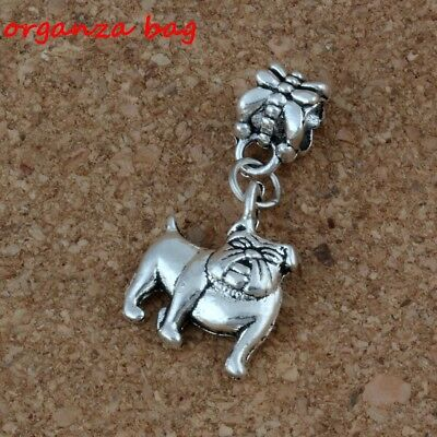 20pcs Dangle Ancient silver Cute Bulldog Charm Big Hole Bead Fit European Charm