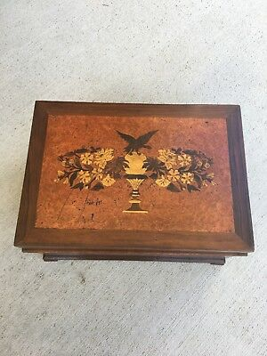 Antique American Wood Inlay Jewelry Document Box 1900s Eagle Key Included