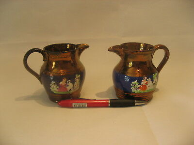 A Small Pair Of Antique Staffordshire Luster Jugs Gaudy Welsh /4085