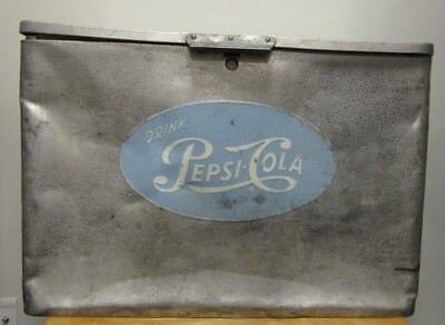 RARE ANTIQUE VINTAGE Pepsi Cola Cronstroms Metal Cooler Ice Box Chest Aluminum
