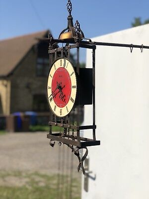 Vintage Franz Hermle Wrought Iron Pendulum Wall Clock