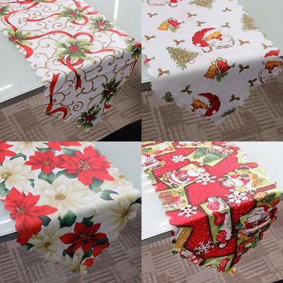 Christmas Table Runner Holiday Party Poinsettia Tablecloth Xmas Home Decoration