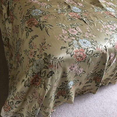 1930s Silk Curtains Pair 2 Damask Vintage1930s Pale Green Floral Tapestry Heavy