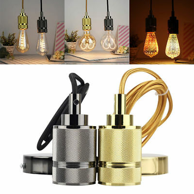 E27 Retro Vintage Edison Screw Bulb Iron Hang Pendant Lamp Holder Light Socket