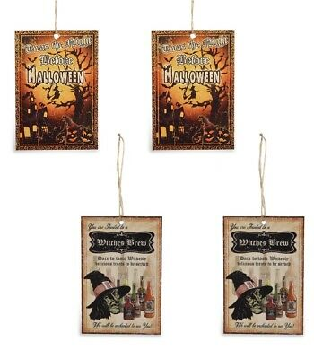 Bethany Lowe Halloween Tin Ornament Night Before Witches Brew Set/ 4 Decorations