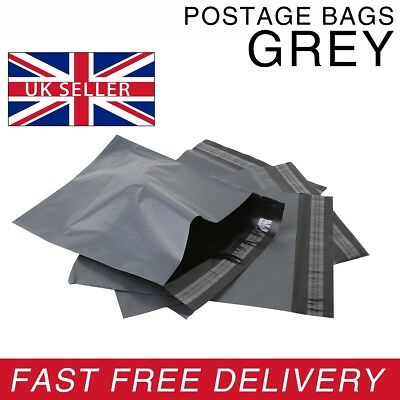 Strong GREY Postage Plastic Resealable Grip Self Seal Polythene Bags - All Sizes