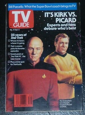 TV Guide Star Trek Kirk vs. Picard Cover 25 Years of Star Trek Aug. 31 - Sept. 6