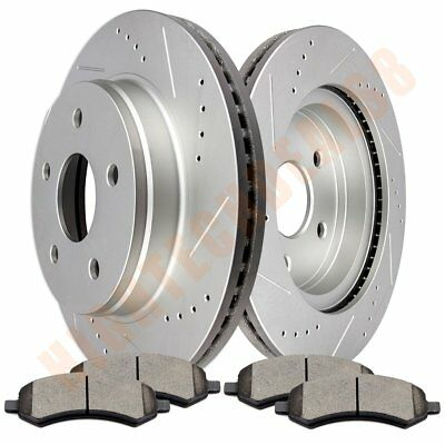 Brake Discs Rotors With Ceramic Pads For 2006-2010 Dodge Ram 1500 Front Drill