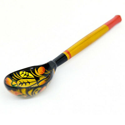 """Khokhloma Wooden Tea Spoon. Hand Painted in Russia 5.5"""". Russian Art"""